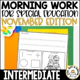 Intermediate Special Education Morning Work: November Edition {3 Levels!}
