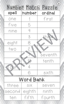 Differentiated Number Match Puzzle - Numerals, Number Words and Ordinal Numbers