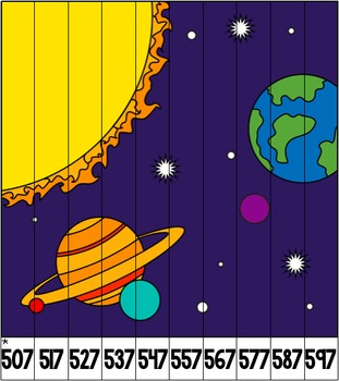 Differentiated Number Pattern Puzzles - Space Theme