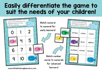 Differentiated Fish Themed Number Sense Board Games - Numbers 0 to 20