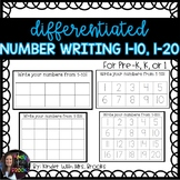 Differentiated Number Writing 1-10, 1-20