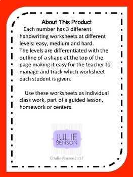 Differentiated Number Writing