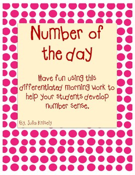 Differentiated Number of the Day Morning Work