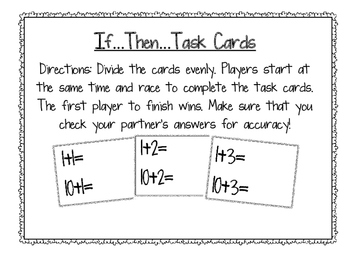 Differentiated Numbers Plus Ten Task Cards