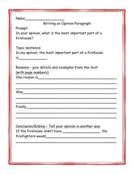 """Differentiated Opinion Writing Graphic Organizer for """"Trip to the Firehouse"""""""