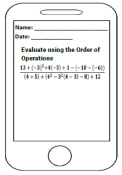 Differentiated Order of Operations PEMDAS Exit Tickets
