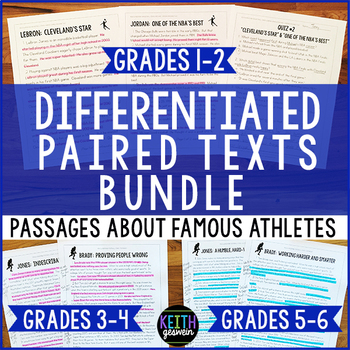Differentiated Paired Texts About Famous Athletes Bundle for Grades 1-6