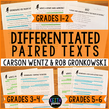 Differentiated Paired Texts: Carson Wentz and Rob Gronkowski (Grades 1-6)
