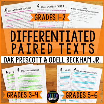 Differentiated Paired Texts: Dak Prescott and Odell Beckham Jr. (Grades 1-6)