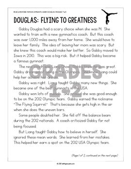 Differentiated Paired Texts: Gabby Douglas and Shawn Johnson (Grades 1-6)