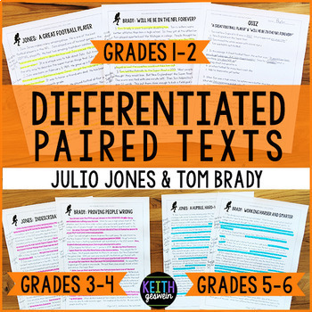Differentiated Paired Texts: Julio Jones and Tom Brady (Grades 1-6)