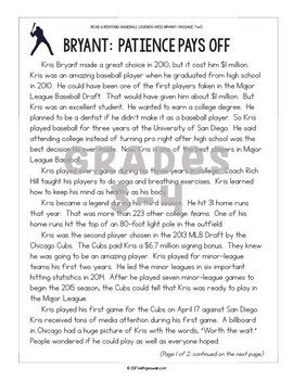 Differentiated Paired Texts: Kris Bryant and David Ortiz (Grades 1-6)