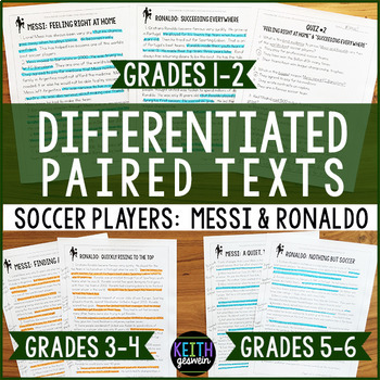 Differentiated Paired Texts: Lionel Messi and Cristiano Ronaldo (Grades 1-6)