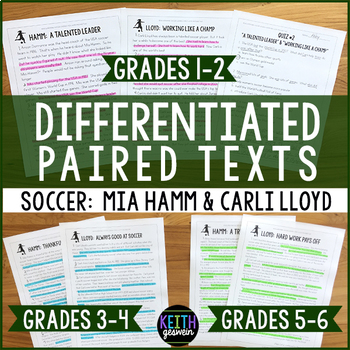 Differentiated Paired Texts:  Mia Hamm and Carli Lloyd (Grades 1-6)