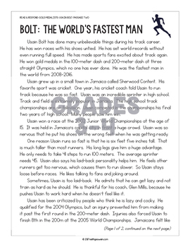 Differentiated Paired Texts: Michael Phelps and Usain Bolt (Grades 1-6)