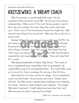 Differentiated Paired Texts: Mike Krzyzewski and Roy Williams (Grades 1-6)