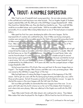 Differentiated Paired Texts: Mike Trout and Derek Jeter (Grades 1-6)