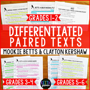 Differentiated Paired Texts: Mookie Betts and Clayton Kershaw (Grades 1-6)