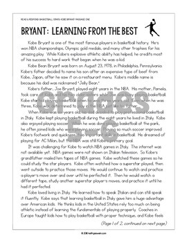 Differentiated Paired Texts: Steph Curry and Kobe Bryant (Grades 1-6)
