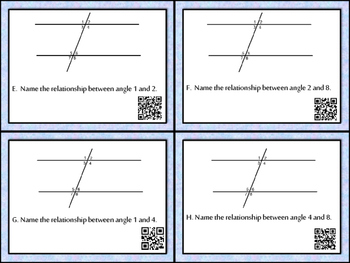 Differentiated Parallel Lines Cut by Transversal Task Cards
