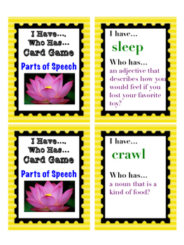 Differentiated Parts of Speech - I Have / Who Has Card Game