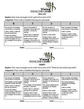 "Differentiated Perimeter & Area Performance Task/Investigation - ""Fenceworks"""