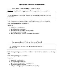 Differentiated Persuasive Essay Prompts