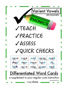 Differentiated Phonics Word Cards Variant Vowels/Consonants