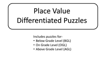 Differentiated Place Value Puzzles
