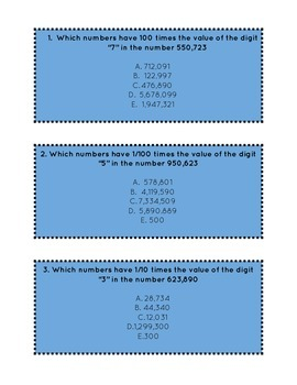 Differentiated Place Value Task Cards