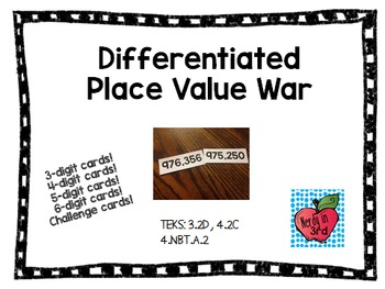 Differentiated Place Value War - Comparing Numbers