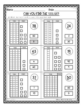 differentiated place value worksheets by the multi sensory teacher. Black Bedroom Furniture Sets. Home Design Ideas