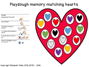 Differentiated Play dough HEART game: matching, fine motor and memory prek123