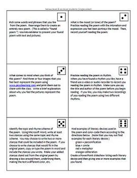 Differentiated Poetry ThinkDots Cards (Task Cards)