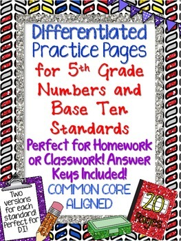 Differentiated Practice Pages 5th Grade  NUMBERS & OPERATIONS IN BASE TEN