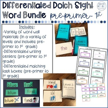 Differentiated Pre-primer to 1st grade Dolch Sight Word Bundle for Special Needs