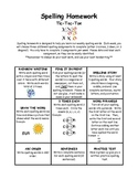 Differentiated Primary Spelling Homework Tic-Tac-Toe Choice Board