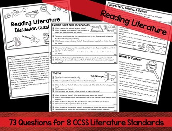 Reading Discussion Question Cards Differentiated
