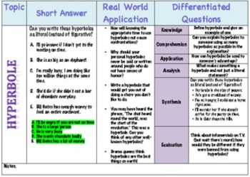 Differentiated Questioning and Real World Application for Hyperboles