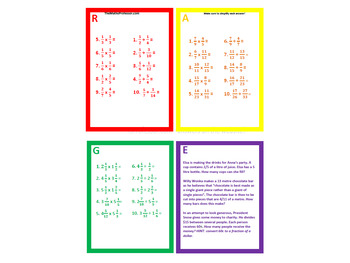 Differentiated (RAGE) - Multiplying and Dividing fractions
