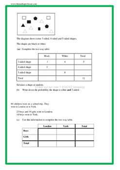 Differentiated (RAGE) Two Way Tables - www.TheMathsProfessor.com