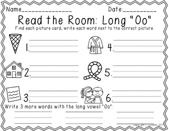 Differentiated Read the Room: Long Vowel O color/b&w, recording sheets, extras!
