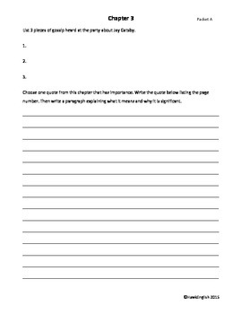 Differentiated Reader Response Journal Packets for Great Gatsby