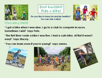 Differentiated Reading Comprehension - Cycling. Supports Magic E. Grade 1, 2, 3.
