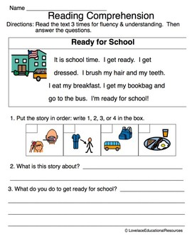 Differentiated Reading Comprehension & Fluency Worksheets