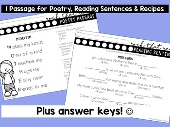 Differentiated Reading Comprehension Passages for First Grade: Moms and Dads