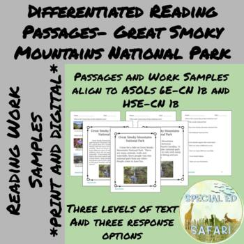 Differentiated Reading Passages #2- Great Smoky Mountains National Park- VAAP!