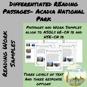 Differentiated Reading Passages #4- Acadia National Park- VAAP!