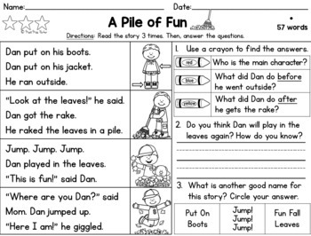 Differentiated Reading Passages Fall Grade 1