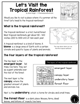 Differentiated Reading Passages about Biomes and Habits